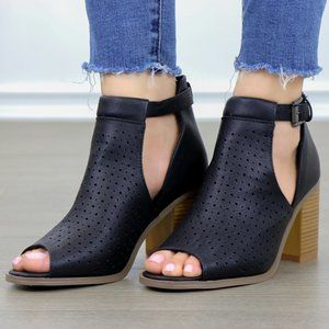 Peep Toe Black Faux Leather Heeled Ankle Boots